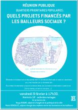 Suites réunion publique 9 février : projets bailleurs dans les quartiers prioritaires.
