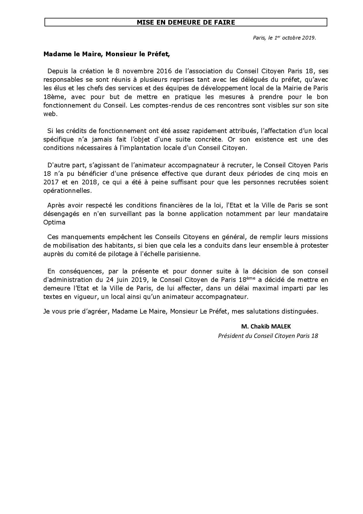 Lettres de mise en demeure. - Conseil Citoyen Paris 18